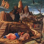 Andrea Mantegna (Isola di Cartura, about 1430/31 - Mantua, 1506)  Agony in the Garden  Tempera on wood, c.1459  63 x 80 inches (160.02 x 203.20 cm)  National Gallery, London, England